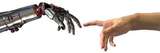 robot hand reaches across to human hand