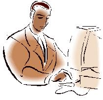 Man on computer clip art ms